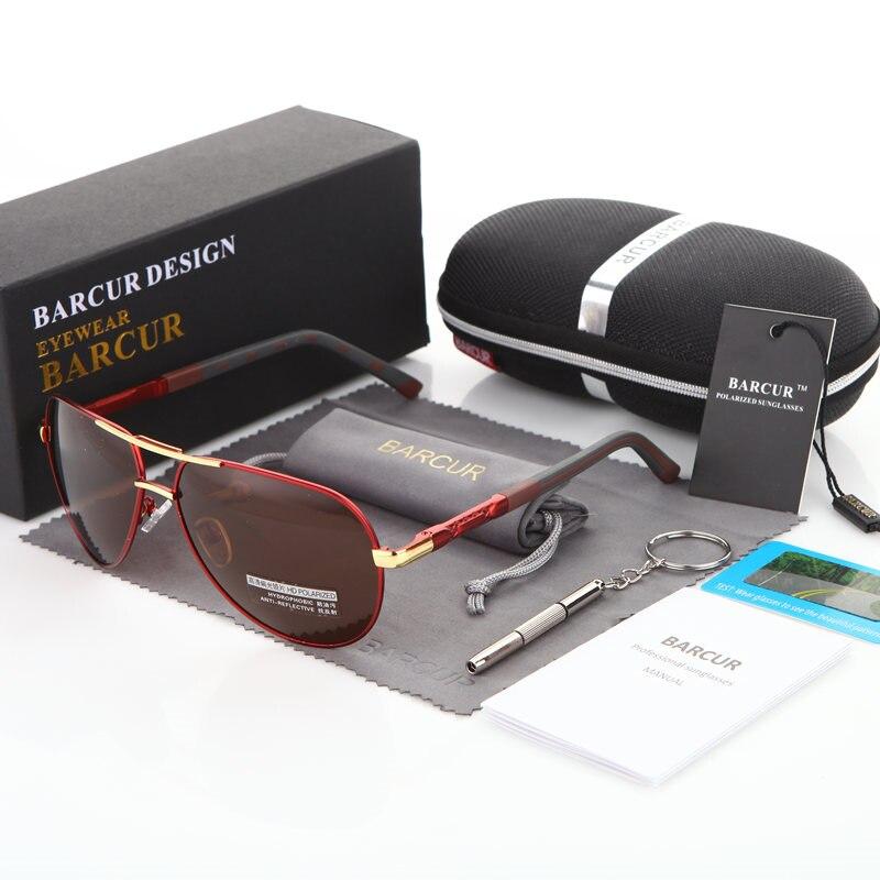 BARCUR Aluminum Magnesium Men's Sunglasses Men Polarized Coating Mirror Glasses oculos Male Eyewear Accessories For Men 12