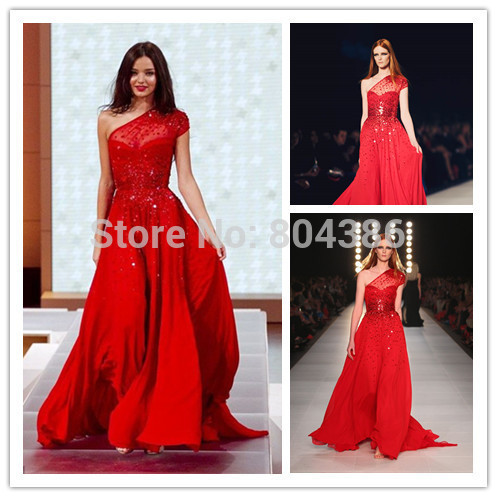 Miranda Kerr Red Dress David Jones Elegant Chiffon One Shoulder Floor Length Celebrity 2017 Evening