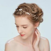 Banda para el pelo de perlas de cristal de boda diademas Vintage Accesorios nupciales para el cabello Metal gran oferta corona ramo colección Tiara hecha a mano