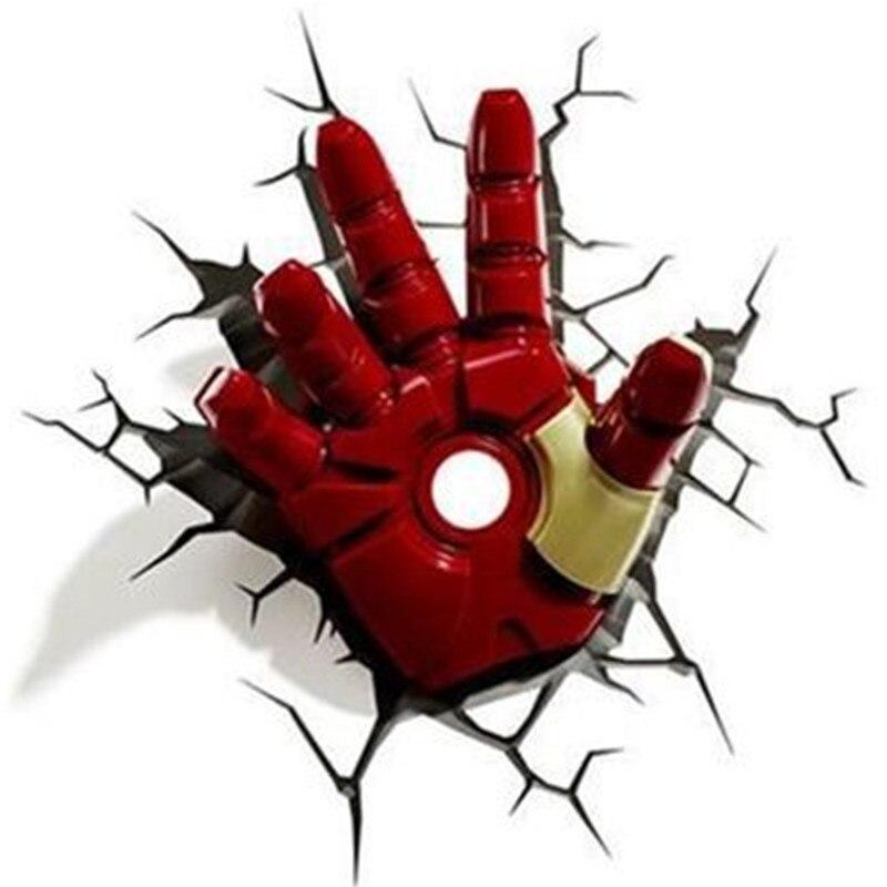 11 pouces Avengers: Infinity War Iron Man main avec lumière LED applique murale 3D Anthony Edward Stark Tony Stark Robert Downey Jr. S585