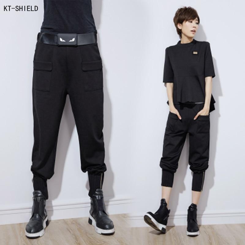 new women hip hop harem pants elastic waist joggers sweatpants fashion black palazzo cargo pants. Black Bedroom Furniture Sets. Home Design Ideas