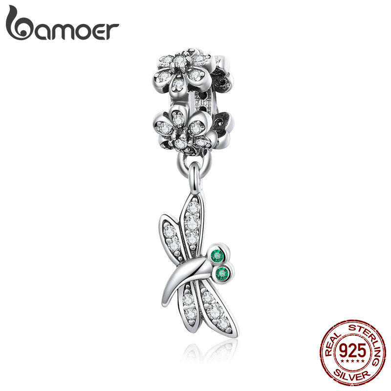 BAMOER Genuine 925 Sterling Silver Flower Butterfly Daisy Flower Pendant Charm fit Bracelets Bangles Jewelry Accessories SCC925BAMOER Genuine 925 Sterling Silver Flower Butterfly Daisy Flower Pendant Charm fit Bracelets Bangles Jewelry Accessories SCC925