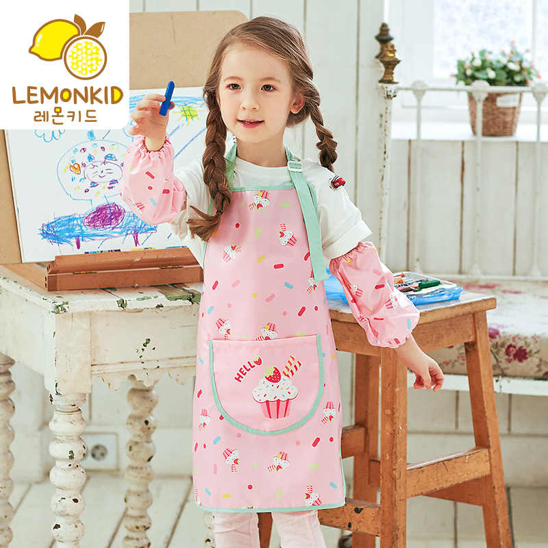 0-11 Tahun Anak-anak Tahan Air Anak Makan Pakaian Anak-anak Lengan Panjang Makan Smock Bib Bayi Celemek Anak-anak Menggambar pakaian
