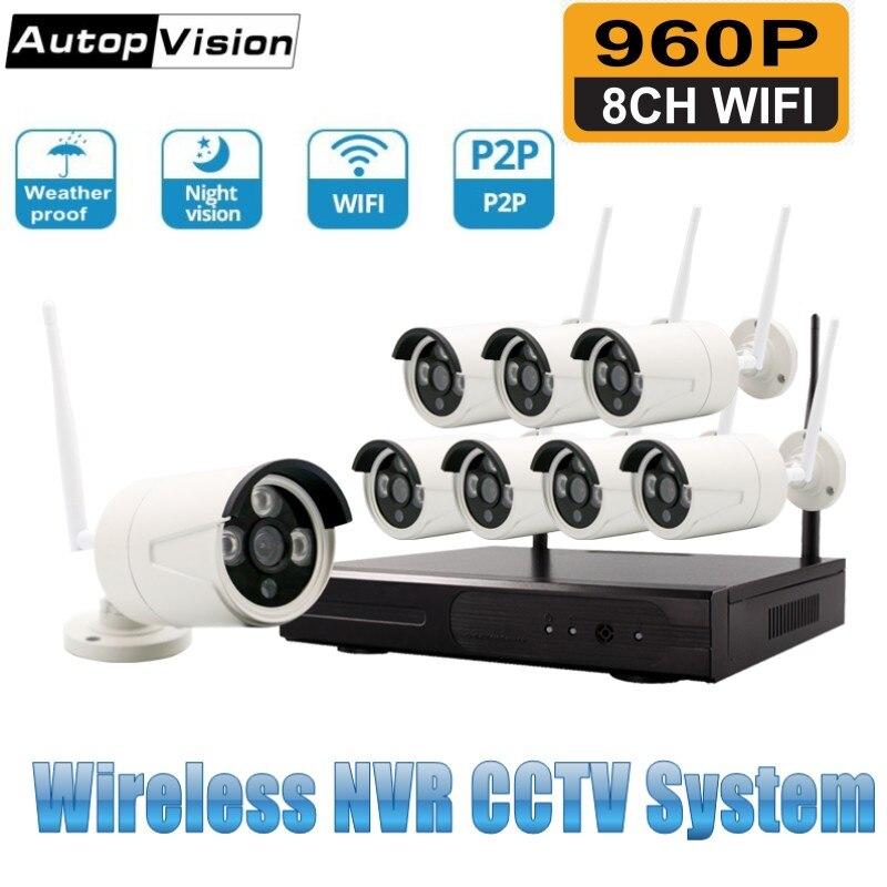 8CH 960P HDMI WiFi NVR Kit 8PCS 1.3MP CCTV Wireless IP Camera IR Outdoor Weatherproof Security Surveillance System Kits