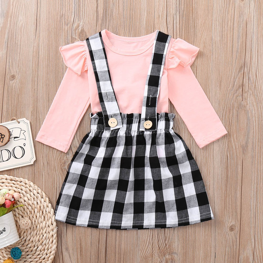 Muqgew Toddler Skirt Set Infant Baby Girls Clothes Cartoon Ruched Tops Strap Dot Print Skirt Outfits Set Roupa Infantil Mother & Kids
