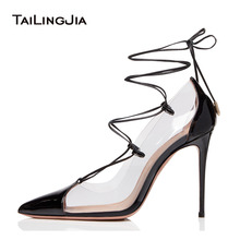 Lace Up Pointed Toe Transparent Pumps Women High Heel Clear Shoes 2019 Large Size Nude Heeled Ladies Black Pointy Stiletto Heels цена 2017