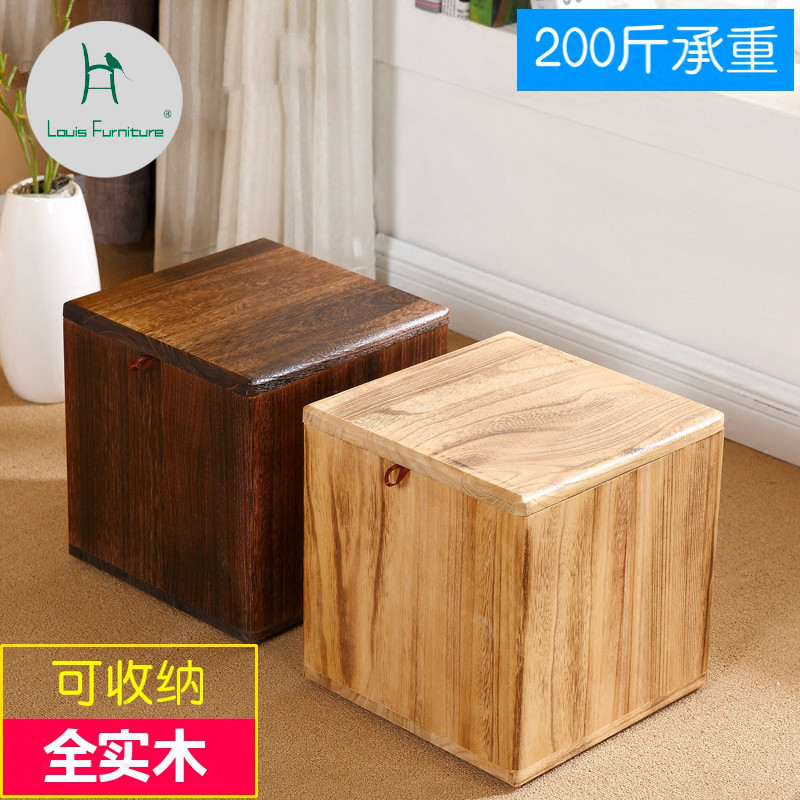 Louis Fashion Stools Ottomans Solid Wood Shoes Replacement Creative Living Room Retro Simple Modern Home
