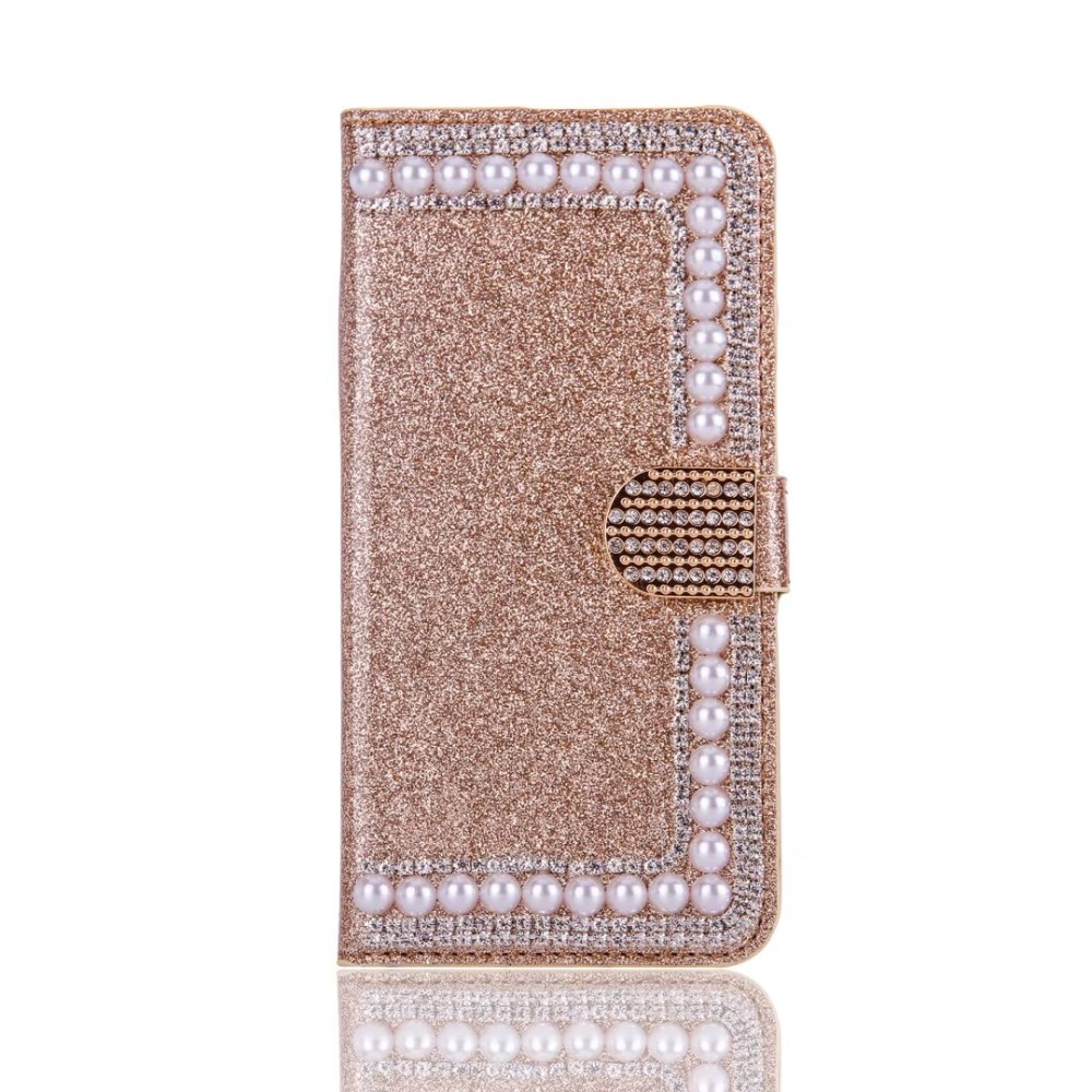 Dower Mich Fall Für <font><b>iPhone</b></font> XS Max XR X 8 7 7 s 6 s Plus 5 SE 5 s mode Bling Diamant Perle Glitter Wallet <font><b>Flip</b></font> Leder Fall Abdeckung image