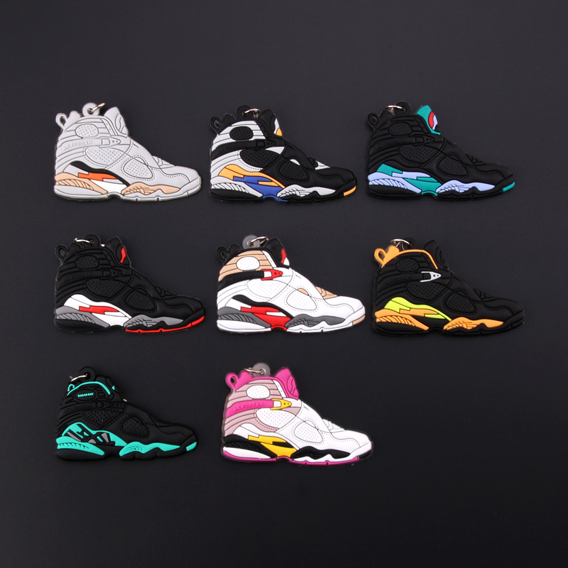 New Mini Jordan 8 Keychain Shoe Men Wome Kids Key Ring Gift Basketball Sneaker Key Chain Key Holder Porte Clef