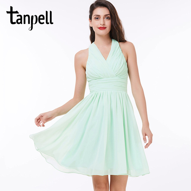 06facd2921 Tanpell Halter verde rodilla longitud drapeado una línea de gasa vestido  barato señoras fiesta negro corto