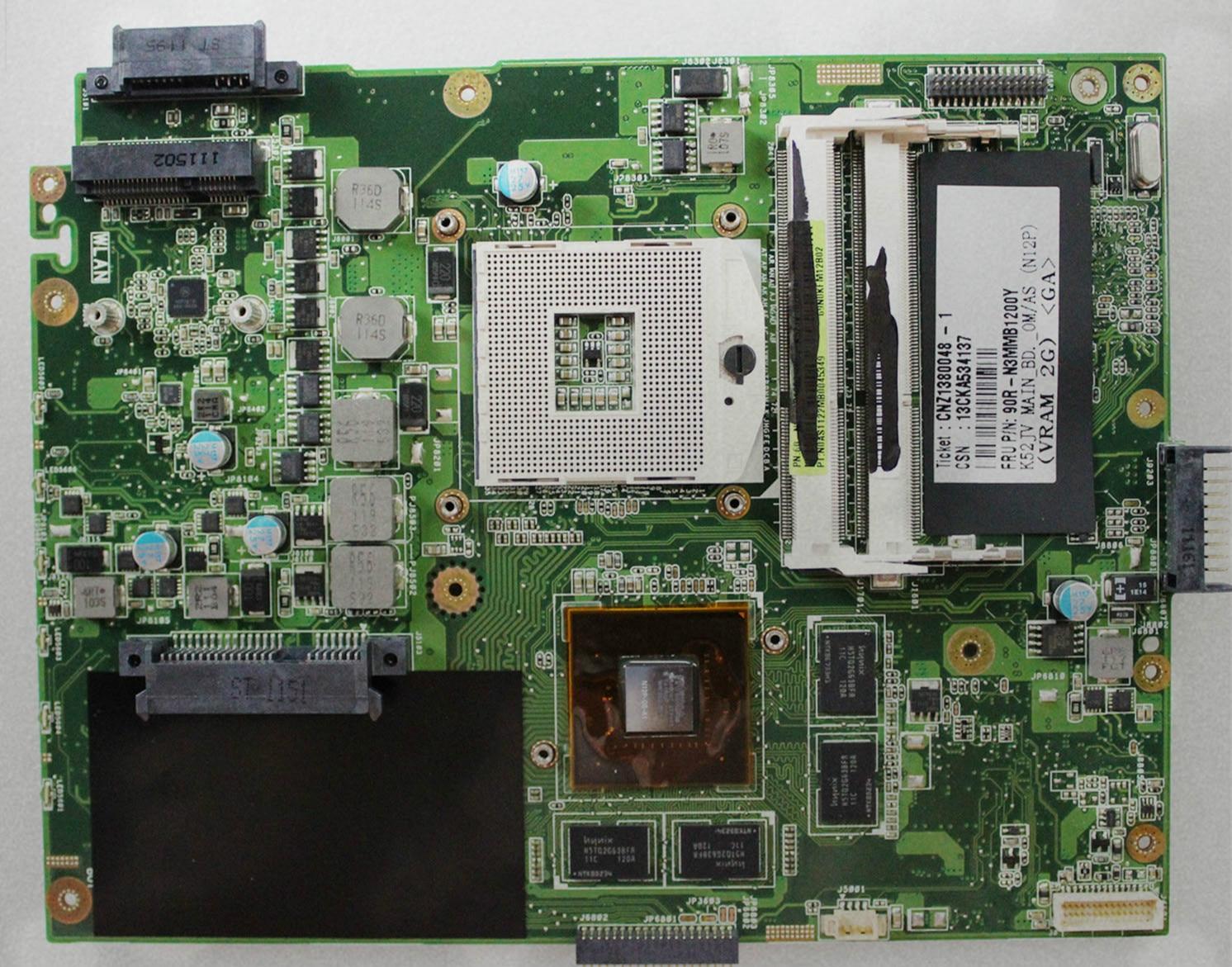 Used, Original laptop motherboard for ASUS K52JV mainboard REV:2.2 Nvidia GT540M 2GB laptop motherboard fit for acer aspire 3820 3820t notebook pc mainboard hm55 48 4hl01 031 48 4hl01 03m