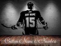 Hockey Player Wall Art Decal Sticker Choose Name Number Personalized Home Decor Wall Stickers For Kids