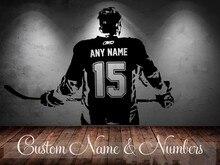 Jugador de Hockey del arte de La Pared sticker Decal Elegir número Nombre personalizado de decoración del hogar Pegatinas de Pared Para Niños Habitación Vinilos Paredes D645