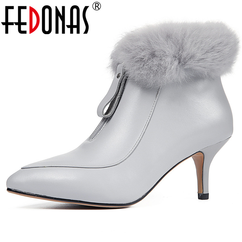 FEDONAS Sexy Women High Heels Pointed Toe Party Wedding Shoes Woman Zipper Tassels Genuine Leather Prom Pumps Basic Ankle Boots fedonas high quality women genuine leather shoes woman high heels sexy pointed toe silver gold wedding party shoes female pumps