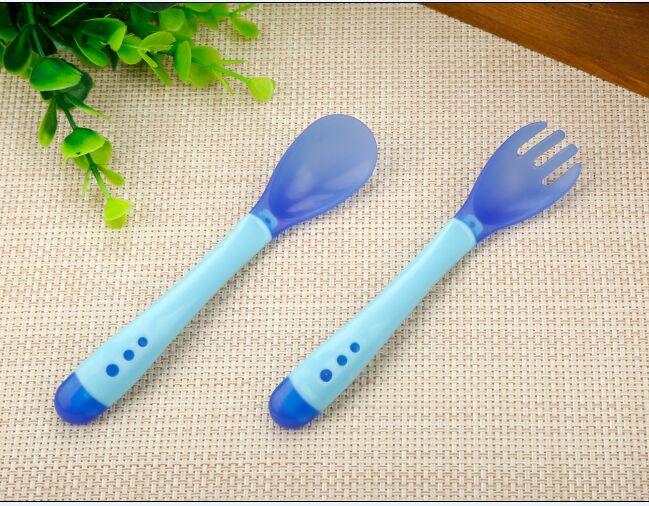 3 шт./компл. детская обучающая посуда с присоской детский спасательный набор посуды для оказания помощи чаша Температура зондирования ложка вилка Посуда - Цвет: Blue 2 PC
