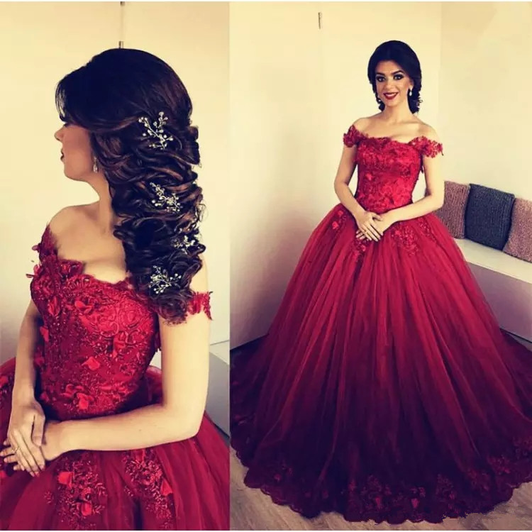 DZW419 Stylish Plus Size Burgundy evening Dresses Lace-Up Sweetheart Strapless Masquerade Ball Gown Prom Dress with Appliques
