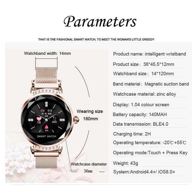 Newest Fashion H2 Smart Watch Women 3D Diamond Glass Heart Rate Blood Pressure Sleep Monitor Best Gift Smartwatch