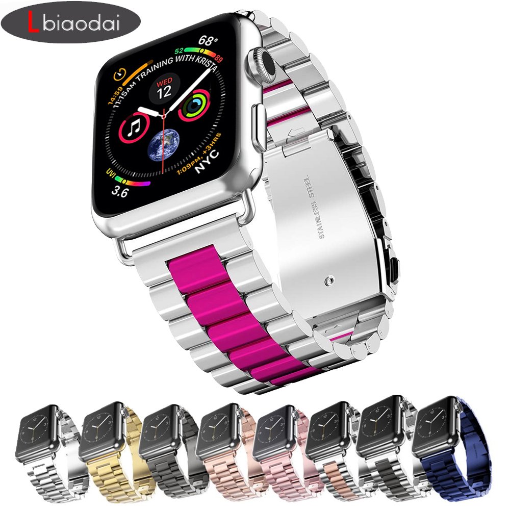 Strap Für Apple Uhr 4 3 42mm 44mm Iwatch Band 38mm 40mm Edelstahl Link Armband handgelenk Metall Armband Zubehör