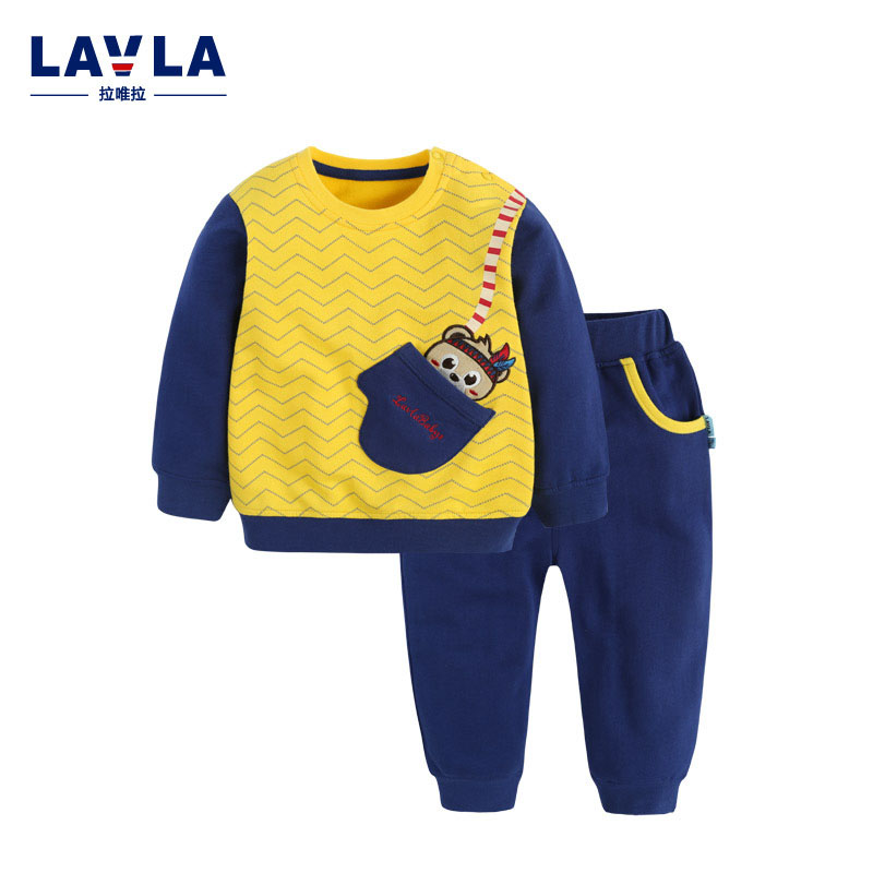 ФОТО Lavla 2016 autumn spring baby boys girls clothes Long sleeve Tops pants 2pcs sport suit costume for kid children cotton outwear