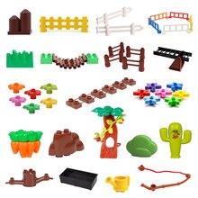 Fence Ladder Bridge Model Big Building Blocks Accessories Tree Flowers Toys For Children Compatible Duplos Farm Set Bricks Gift