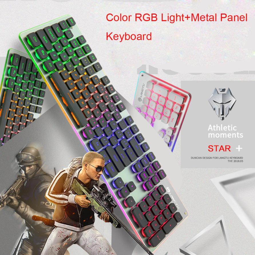 New Colorful Crack LED Illuminated Backlit USB Wired PC Rainbow Gaming Keyboard 18Jun22 Drop Ship F
