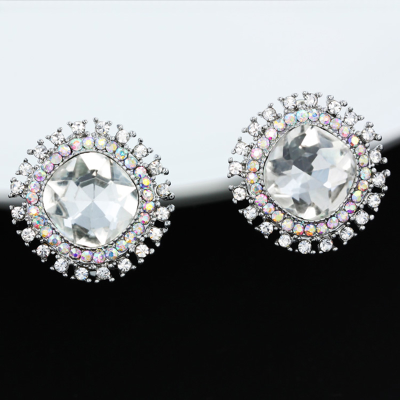 Ocesrio Fancy Crystal Clip On Earrings For Women Flower Round Silver Without Piercing Penntes Mujer Ers H13 In From