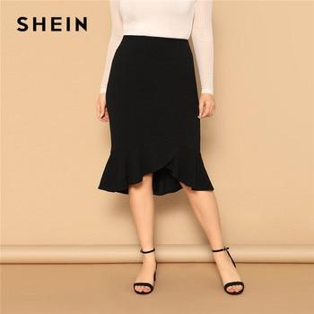 SHEIN Plus Size Asymmetrical Ruffle Hem Black Bodycon Skirt Office Lady Elegant Solid Knee-Length Weekend Casual Pencil Skirts