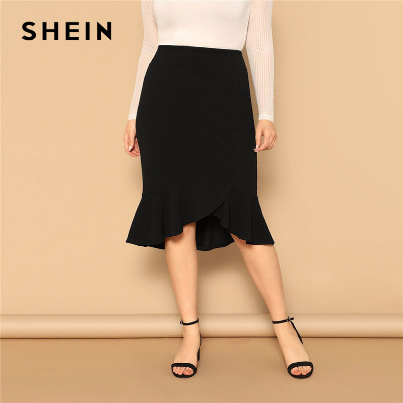 SHEIN Plus Size Asymmetrical Ruffle Hem Black Bodycon Skirt Office Lady Elegant Solid Knee-Length Weekend Casual Pencil Skirts