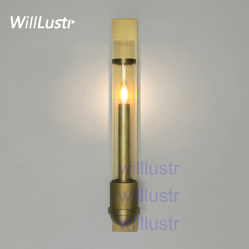 Willlustr copper or stainless steel wall sconce blown clear glass shade lamp modern lighting porch staircase hotel vanity light