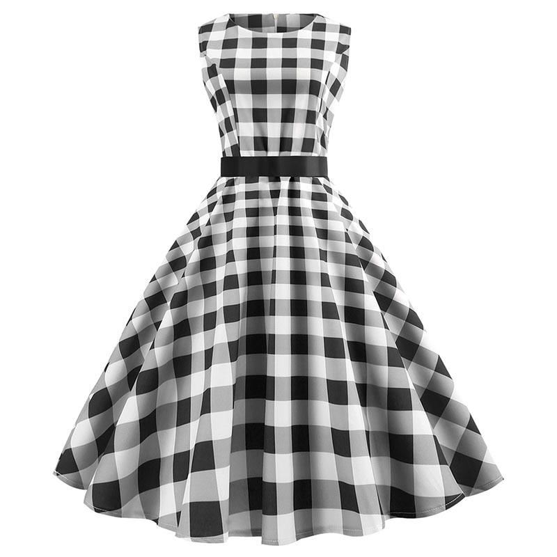 Plaid Vintage Dress Plus Size Women Vestidos Hepburn 50 S 60 S Elegant Party Clothes Casual Rockabilly Pin Up Summer Dress