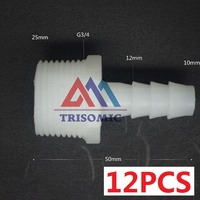 12 Pieces 10mm G3 4 Straight Connector Plastic Pipe Fitting Barbed With Thread Material PE Joiner