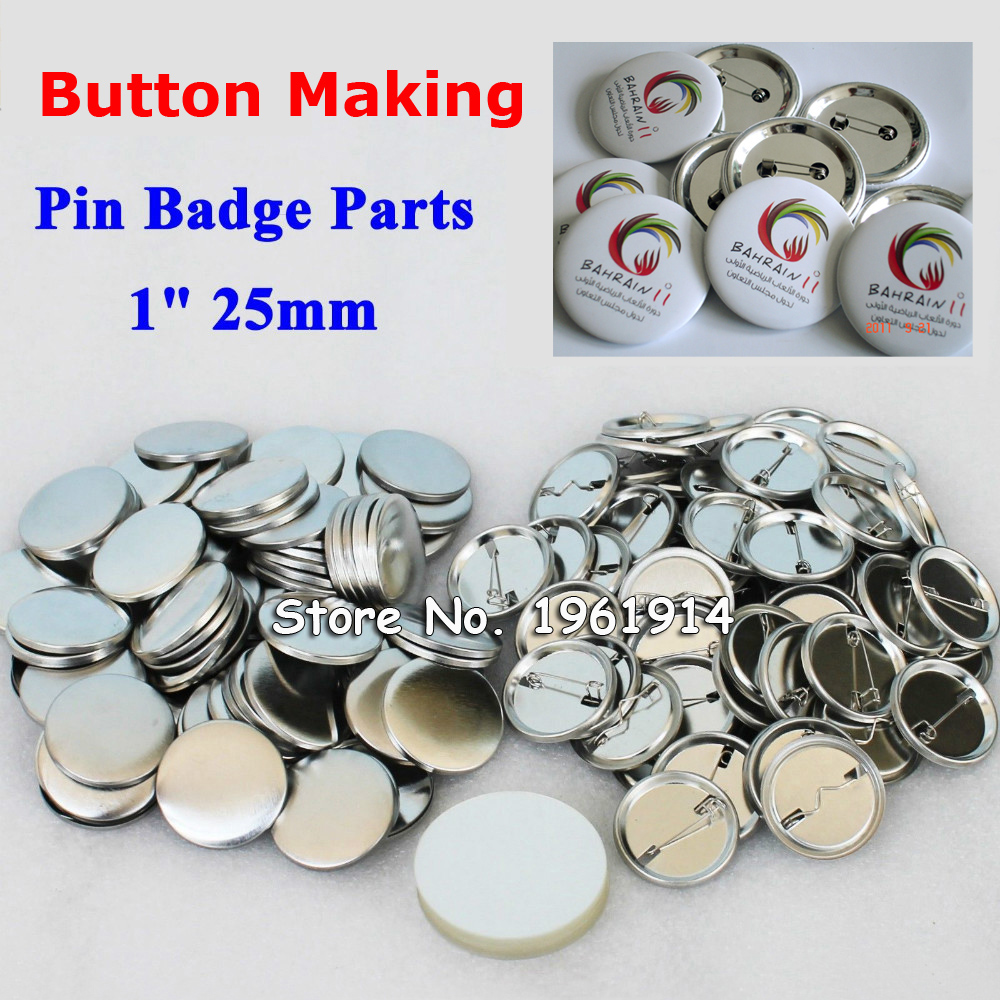 1 25mm 100 Sets NEW Professional All Steel Badge Button Maker Pin Back Metal Pinback Button Supply Materials fast free shipping discount 75mm 100 sets professional badge button maker pin back pinback button supply materials