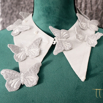 New Embroidery Flower Heart Shaped Collar Decoration Art Freshness Blue Cotton Flowers false Butterfly collar accessories