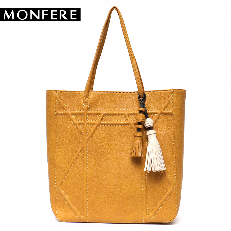 MONFERE Women Vegan Leather Tassel Tote Bag 2018 Fashion Large Tall Top-handle Bags Lady Casual High Quality Shoulder Handbags instantarts large capacity women handbags high quality lady top handle bag tape print brand design shopping tote shoulder bags