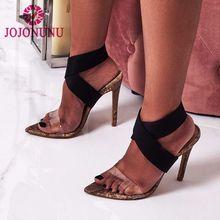 dfcdee5f9 JOJONUNU Mulheres Finas Sandálias De Salto Alto Cruz Banda Pontas Do Dedo  Do Pé Aberto Sexy Sapatos de Mulheres Da Moda de pele .
