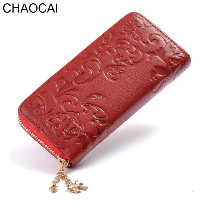Fashion Women wallets Genuine Leather Long Purse Flower Embossing Female Zipper Wallet Money Clips Girls Card Purse Rear Cowhide fashion handbag style 2w 15 led flexible neck white light desktop lamp