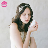 LUOSU Ribbon Tiara Wedding Bride Headband Floral Crystal Hair Accessories Leaves Wedding Hair Jewelry Ornaments Sweet