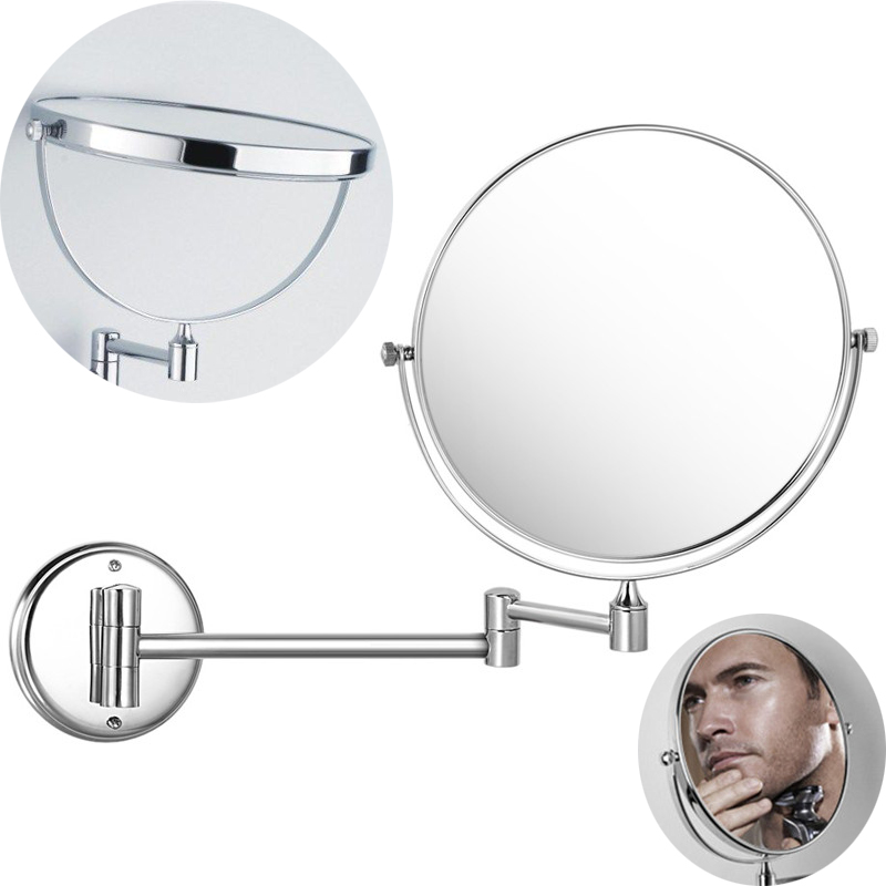 Aliexpress Com Buy Bathroom Mirror Round Base Wall Mounted Extending Folding Cosmetics Mirror Wall Mounted Magnifier Double Side Makeup Mirrors From