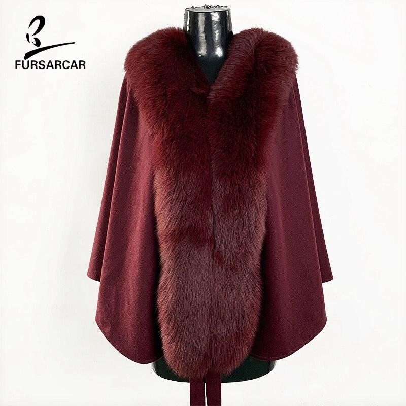 FURSARCAR 2019 nouvelles femmes vin rouge Cape de laine mode femme véritable fourrure châle avec ceinture Wrap et grand réel Nature renard col de fourrure