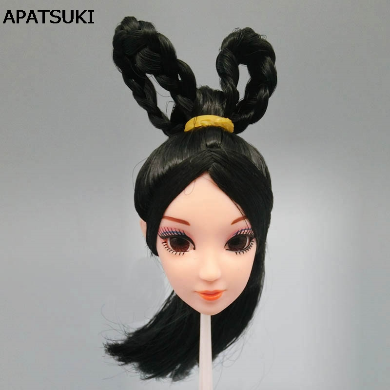 DIY Kids Toy Gift Black Hair 1/6 Doll Head 3D Real Eye Chinese Ancient Beauty Doll Heads For Barbie Doll DIY Accessories