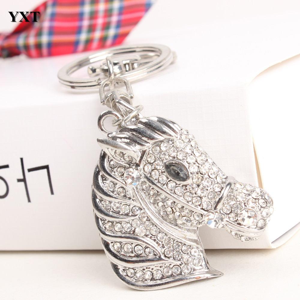 Horse Head Lovely Cute Rhinestone Crystal Charm Purse Bag Car Key Ring Chain Pendent Gift Hot New Fashion Outfit