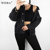 Wixra Casual Classic Solid Color Denim Jackets 2019 Spring Autumn Casual Single Breasted Turn Down Collar Jacket For Women