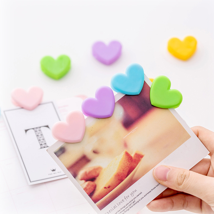6pcs/set Solid Color Heart Shape Binder Clips Mini Plastic Photo Decoration Clip School Stationery Office Supplies