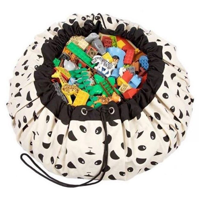 Lovely Baby Game Blanket Toys Storage Canvas Bags Kids Room Decoration Outdoor Cute Cartoon Beard Panda Round Carpet Swaddle