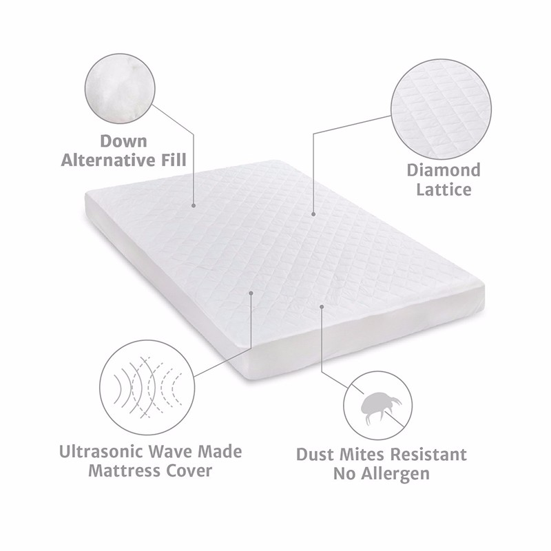 Mattress Protector Hypoallergenic Embossed Overfilled Vinyl Free Plush Breathable Dust Mite Resistant 18