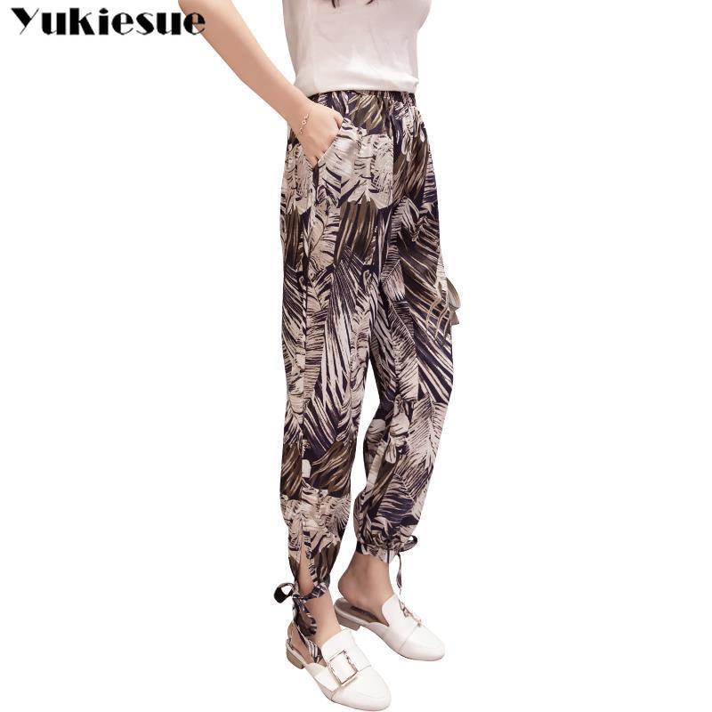 Summer Beach Bohemia Print women's   pants     capris   with high waist harem   pants   for women trousers woman   pants   female Plus size
