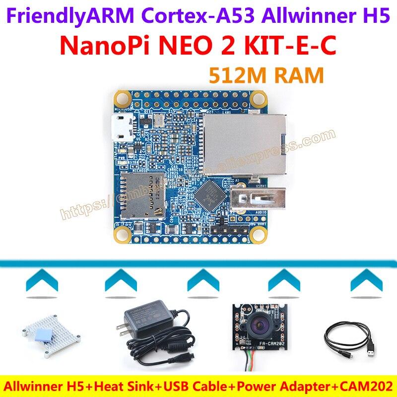 FriendlyARM NanoPi NEO2 Development Board(512MB RAM)+CAM202 Camera+Heatsink+5V/3A Power Adapter+USB Cable=NanoPi NEO 2 KIT-E-C