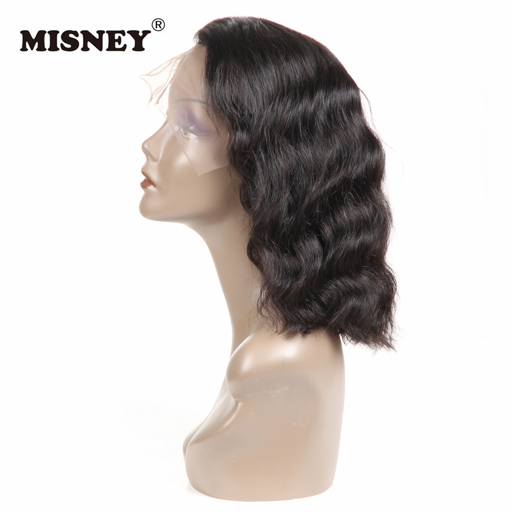 Brazilian Non Remy Hair Short Bob Frontal Lace Wig With Baby Hair Body Wave Pre Plucked Natural Black Color