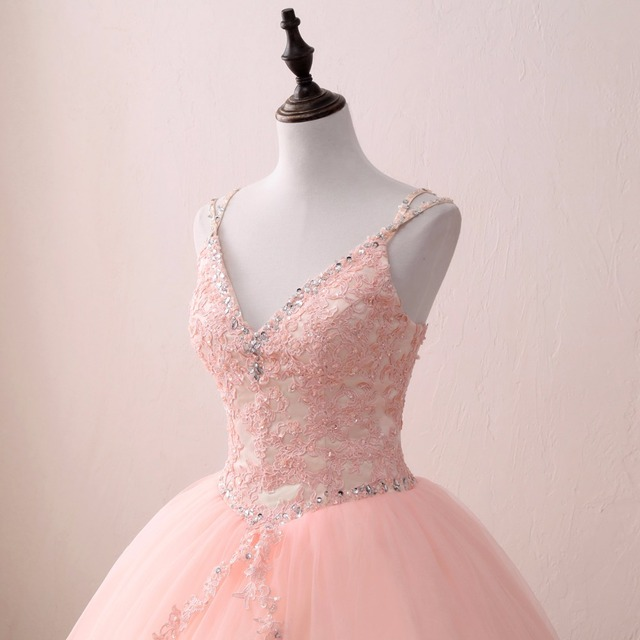 sweet 16 dress Blush Quinceanera Dresses 2018 Ball Gown Beaded Lace Tulle Vestidos  De 15 Long Prom Gown For Girl 2019 ab8f26798387
