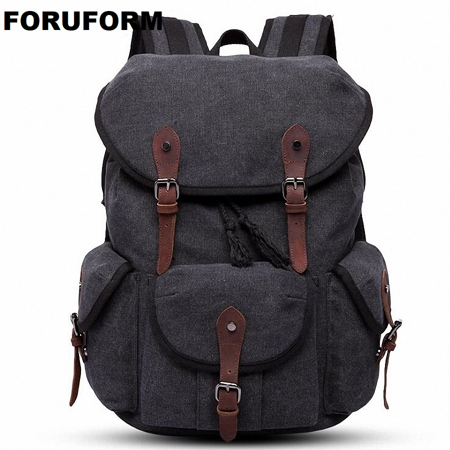 Men Laptop Backpack Rucksack Canvas School Bag Travel Backpacks For Teenage Male Notebook Bagpack Computer Knapsack Bags LI-2086 jacodel laptop bagpack 15 inch notebook backpack travel case computer pc bag for lenovo asus dell notebook 15 6 inch school bags